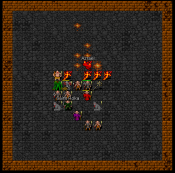 tiles screenshot of Azrael and Saint Roka (and bands) fighting in the arena