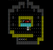 ASCII screenshot of an entry vault, spelling the world 'crawl'