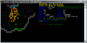 ASCII screenshot showing the Firestorm spell in action