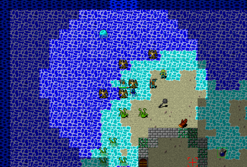 A player merfolk surrounded by harpies, near a siren, ruins, and the open sea